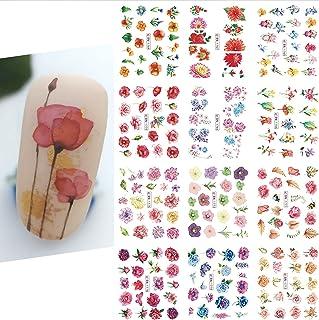 تابلوچسبها ناخن گل گلبرگ تزئینات ناخن تابستانی شکوفه گل تابلوچسبها ناخن گلبرگ آب تابستان کشویی گل داوودی طرح گل صد تومانی برای مانیکور 12 ورق