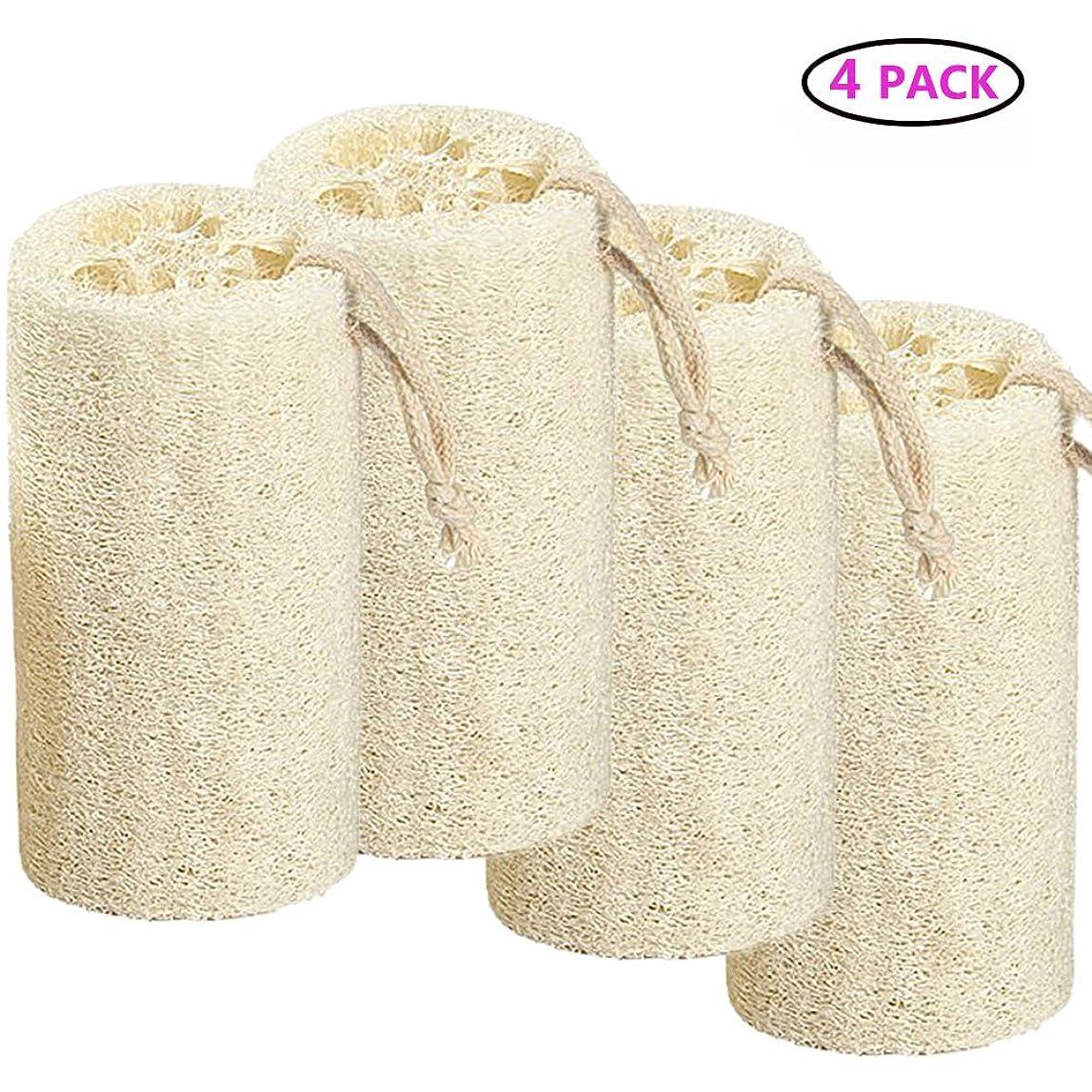 ボスグレートバリアリーフお客様Natural Loofah バスボディスポンジバスルームシャワーエクスフォレイティングスクラバーブラシボディスパマッサージャー 10cm (4 pack)