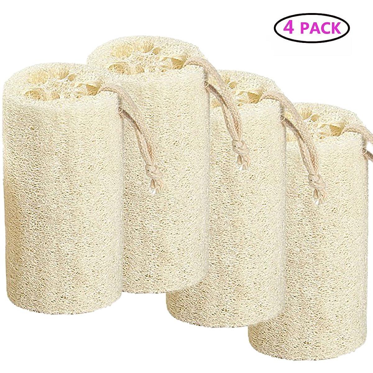 情熱的受賞相対的Natural Loofah バスボディスポンジバスルームシャワーエクスフォレイティングスクラバーブラシボディスパマッサージャー 10cm (4 pack)