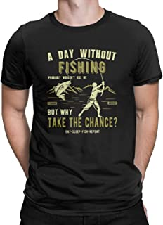 A Day Without Fishing Probably Won't Kill Me Funny T-Shirt Fishing Outdoorsman Idea Tops Tees for Men