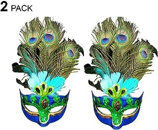 PHYNEDI Máscara de Plumas, 2 Piezas Mujer Mascaras de Pavo