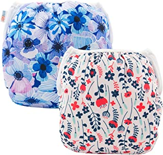 ALVABABY Swim Diapers Large Size 2pcs Reuseable Washable & Adjustable for Swimming Lesson & Baby Shower Gifts (Flowers 01,...