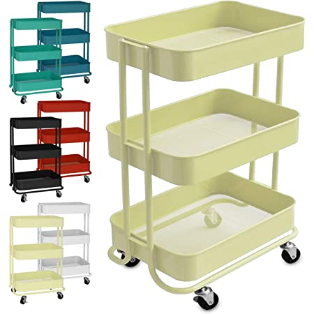Gr/ün DOEWORKS Aufbewahrungswagen 3-Etagen Metall Utility Cart Rollwagen Organizer Wagen mit R/ädern f/ür K/üche Make-up Badezimmer B/üro