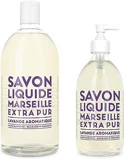 Compagnie de Provence Savon de Marseille Extra Pure Liquid Soap - Aromatic Lavender - 16.9 Fl Oz Glass Pump Bottle and 33.8 fl oz Plastic Bottle Refill