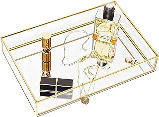 CHICHIC Gold Mirror Tray Jewelry Organizer Vanity Tray Jewelry Tray Perfume Tray Dresser Tray Decorative Tray, Glass Metal...
