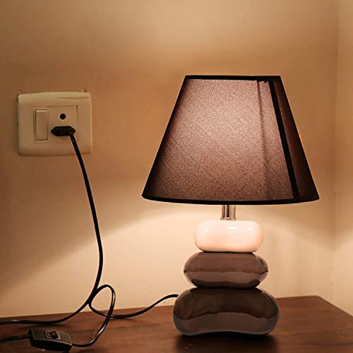 Kurtzy Modern Luxurious Crackle Pebble Table Desk Night Lamp Beautiful Art Decor Elegant Light for Home Bedroom Bedside Living Room (Brown)