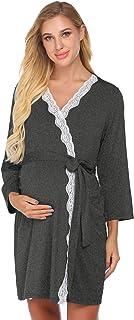 Ekouaer Womens Maternity Robe Nursing Labor Delivery Gown Pregnancy Nightgown Breastfeeding Hospital Bathrobes S-XXL
