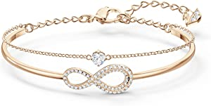 SWAROVSKI Women's Infinity Jewelry Collections, Rhodium Finish, Rose Gold Tone Finish, Clear Crystals
