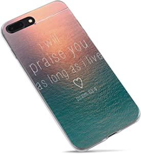 iPhone 7 Plus Girls Case,iPhone 8 Plus Case.Christian Quotes Bible Verses Motivational Psalm 63:4 Sunset Ocean I Will Parise You Clear Side Soft Case Compatible for iPhone 8 Plus/iPhone 7 Plus