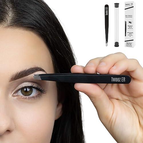 Slant Tweezers   Eyebrow Tweezers   Surgical Grade Hand Filed Slanted Tips for Professional Use, Best Precision Engin...