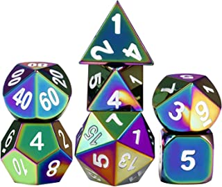 Solid D&D Rainbow Dice Set, 7-Die Metal Polyhedral Dice Set for Dungeons & Dragons Role Playing Game Pathfinder RPG and Math Teaching with Metal Case