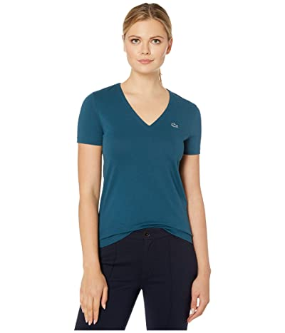 Lacoste Short Sleeve Solid V-Neck Jersey Tee (Wheelwright) Women