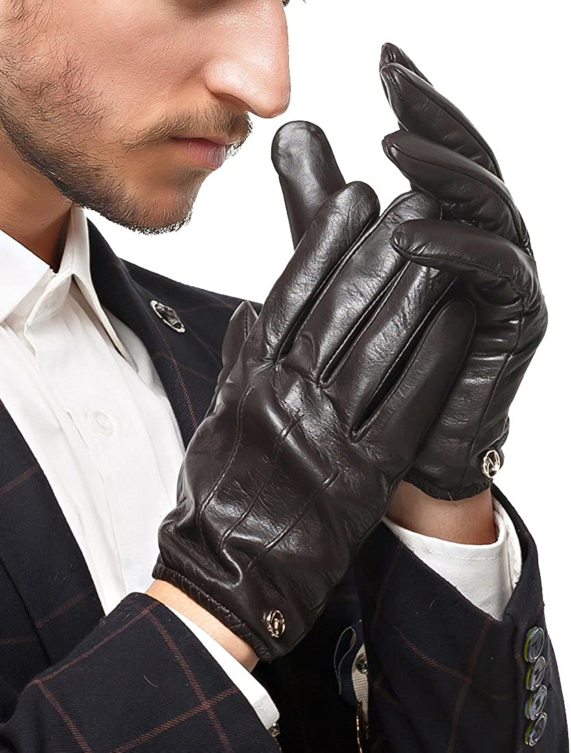 Nappaglo Men's Genuine Nappa Leather Winter Gloves Touchscreen Driving Long Fleece Lining Mittens