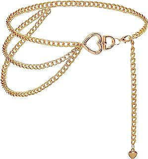 أحزمة سلسلة BAOKELAN للنساء حجر الراين حزام سلسلة الخصر متعدد الطبقات هدايا سلسلة ربط