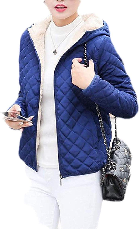 Women's Hooded Lined Fleece Down Warm Jacket Quilted Winter Parka Coat