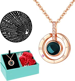 Boonix Necklace That says I Love You in 100 Languages, Best Gifts for Her, Gift for Women, Girlfriend, Wife, Mom, Woman