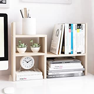 Best Jerry & Maggie - Desktop Organizer Office Storage Rack Adjustable Wood Display Shelf | Birthday Gifts - Toy - Home Decor | - Free Style Rotation Display - True Natural Stand Shelf White Wood Tone Review