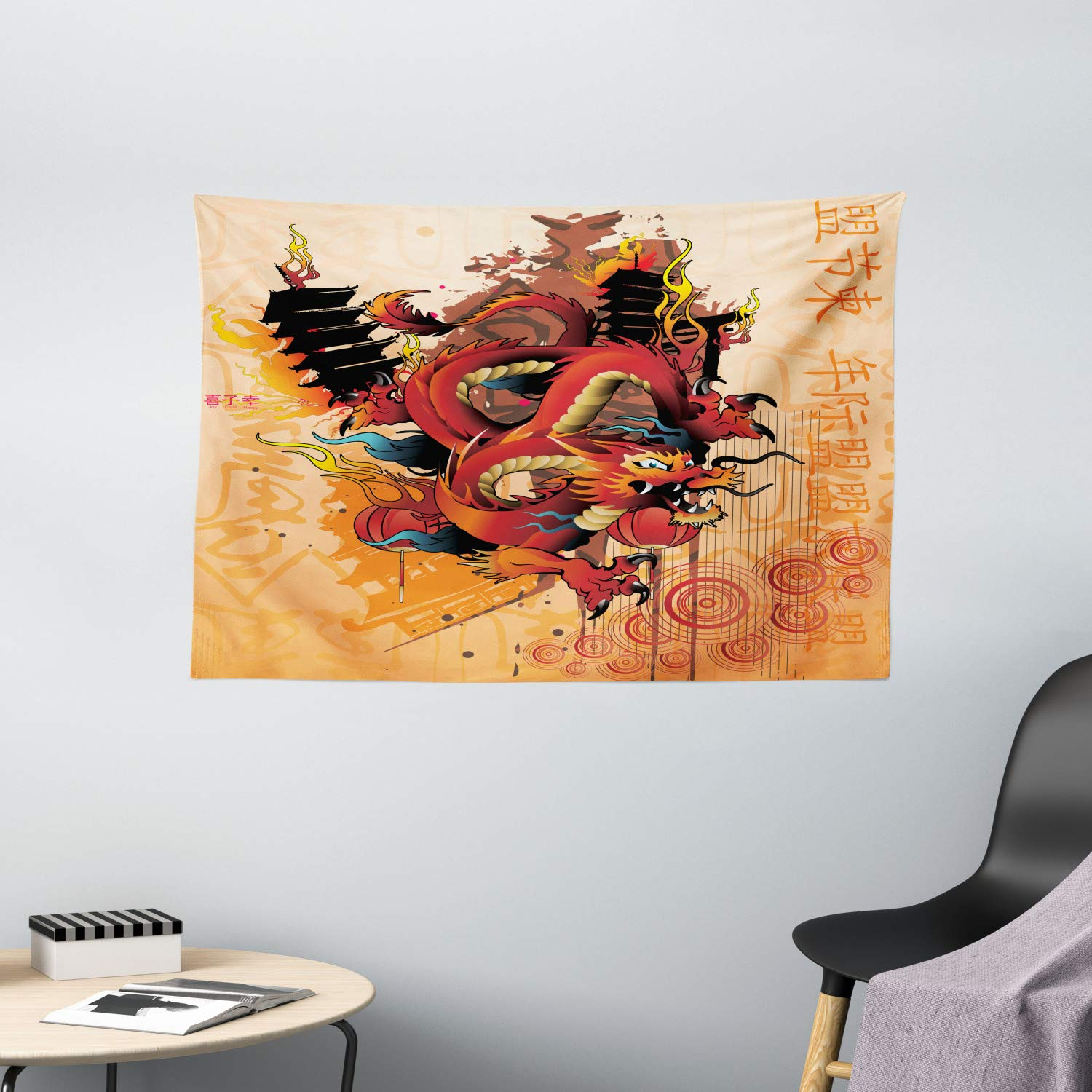 Amazon Com Ambesonne Dragon Tapestry Dragon Theme Abstract Cartoon Culture Building Fire Wind Japanese Wide Wall Hanging For Bedroom Living Room Dorm 60 X 40 Soft Red Home Kitchen