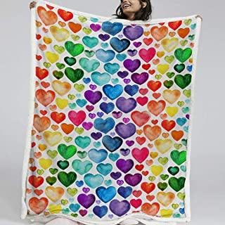 BlessLiving 3D Rainbow Hearts Throw Blanket Modern Pattern Printed Sherpa Blanket Girls Soft Fleece Blanket (Throw, 50 x 60 Inches)