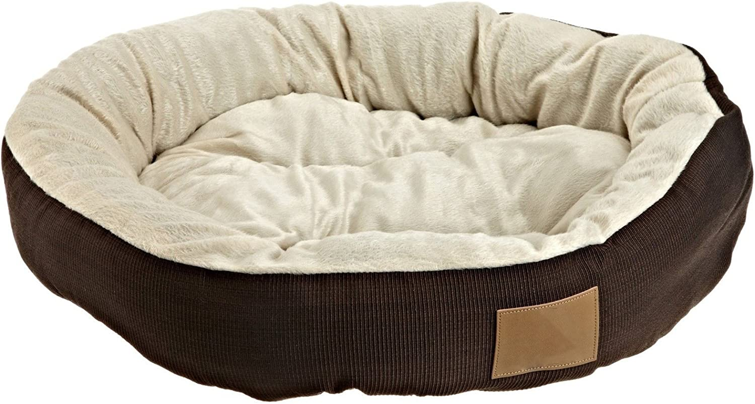 M.E.R.A. NEW Round Pet Bed, Round Solid Pet Bed, Pad Medium Warm Soft Mat Puppy Cushion, 22x6'' Soft, color Brown.