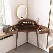 Triangular Dressing Table, Multifunctional Corner Dressing Table, Rotating Storage Drawer, with LED Light, with USB Jack *...