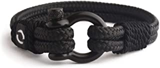 Mens Rope Bracelet - Stainless Steel Black Shackle, Extremely Durable and Scratch Resistant Waterproof Paracord, Handmade, Nautical Wristband for Men
