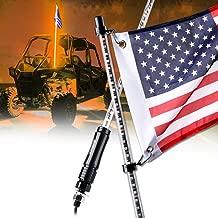 Xprite 5ft (1.5M) LED Whip Lights Waterproof Flag Pole Safety Antenna Light w/U.S. Flag for Offroad Jeep Sand Dune Buggy UTV ATV Polaris RZR XP 1000 900 4X4 Trophy Truck - Orange
