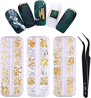 LILYCUTE Gold Silver Metal Nail Rivets Alloy Studs Starfish Shell Feather Love DIY 3D Nail Art Decorations 3 Boxes with Free Nail Tweezer