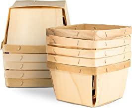 """One Pint Wooden Berry Baskets (10 Pack); for Picking Fruit or Arts, Crafts and Decor; 4"""" Square Vented Wood Boxes"""