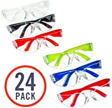 24 Pack of Safety Glasses (24 Protective Goggles in 6 Different Colors) Crystal Clear Eye..