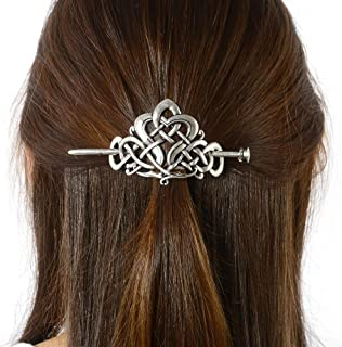 Viking Celtic Hair Clips Hairpin-Viking Hair Sticks Ladies Hair Accessories Triangle Clips for Long Hair Slide Pin Irish Antique Silver Hairstick Celtic Knot Viking Jewelry Hair Clip Men Gift (No.C2)