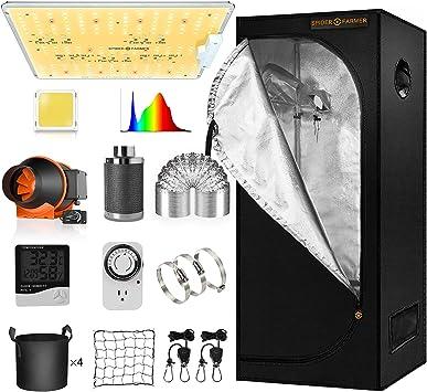 Spider Farmer 2x2 Grow Tent Kit Complete SF-1000D Full Spectrum LED Grow Light Samsung Diodes