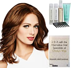Bundle - 7 items: Bravo Human Hair Wig by Raquel Welch, 15 Page Christy's Wigs Q & A Booklet Luxury Shampoo & Conditioner Blown Away Treatment Mist Wide Tooth Comb - Color: R829S+