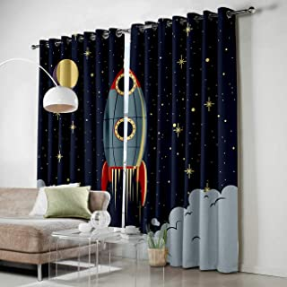 Grommet Window Panel Curtain Set, Room Décor Curtain Drapes for Living Room Dining Bedroom - Space Exploration Cartoon Spaceship Rocket Pattern,Each 52 by 63 Inch,Set of Two Panels