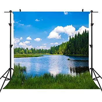 Zhy 7X5FT Lake Photography Backdrop Mountain Grren Forest Sunset Glow Cloud Nature Scenery Background Baby Shower Child Kids Portrait Photobooth Backdrop Props GEEV259