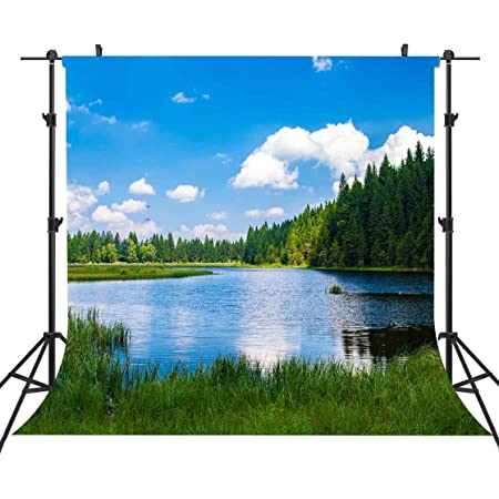 7x7FT Vinyl Backdrop Photographer,Nature,Small Lake Cloud Reflection Background for Party Home Decor Outdoorsy Theme Shoot Props