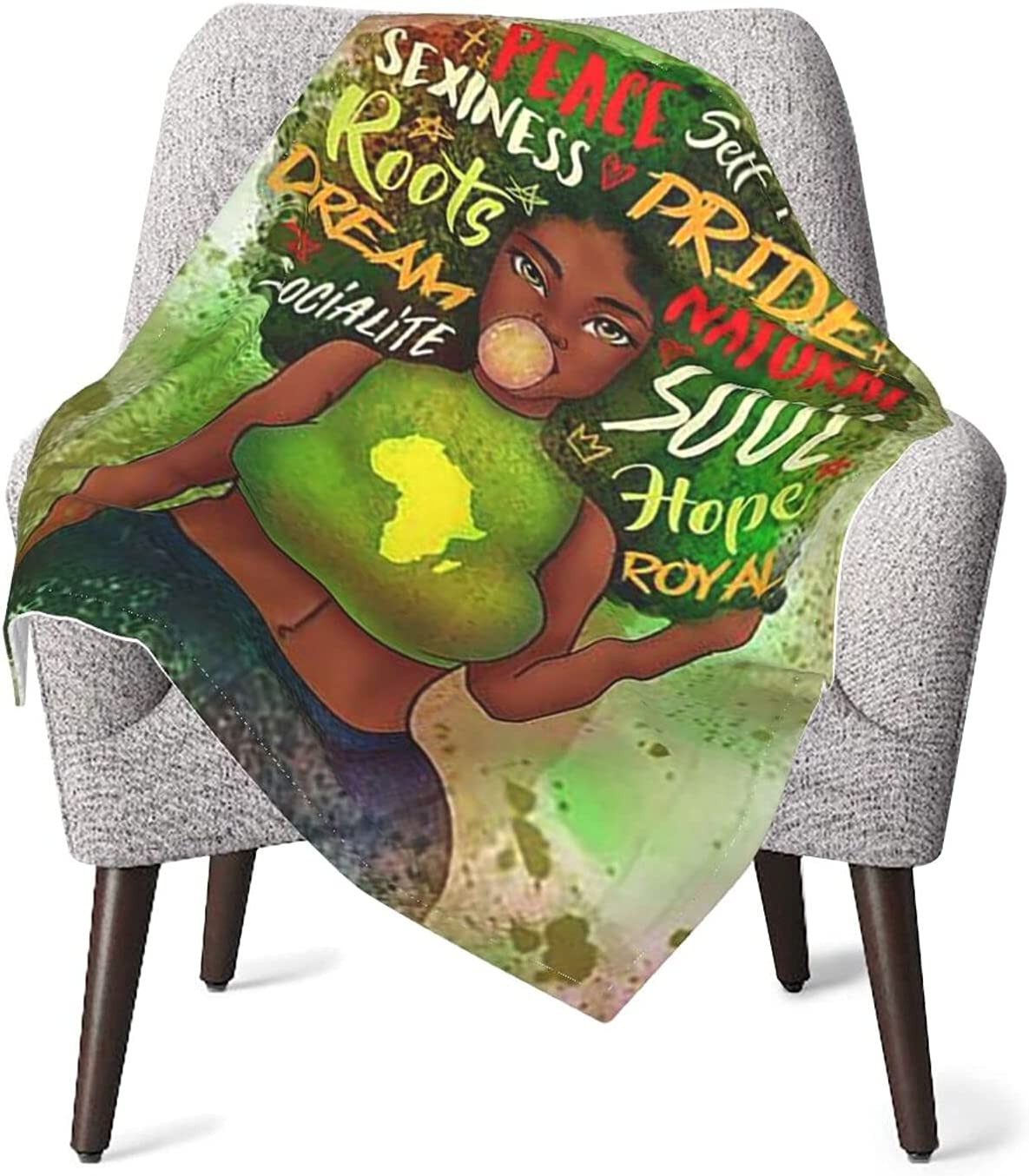 Melaninful Black Girl Afro Industry No. 1 Warm Conditio Blankets Throw Award-winning store Air Cozy