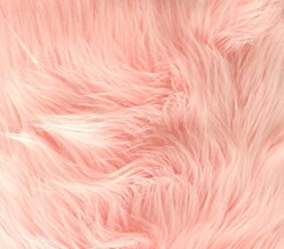 Faux Fur Fabric Long Pile Shaggy Baby Pink / 60