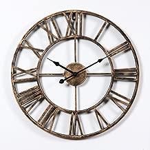 Hunter Garden Crafts Vintage Retro Iron Metal Wall Clock with Roman Numerals (Bronze)