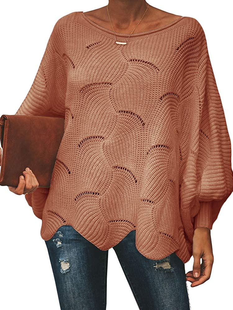 Ybenlow Womens Off Shoulder Sweaters Batwing Sleeve Loose Overiszed Hollow Knit Pullover Jumper Tops