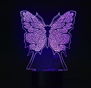 3D Night Lamp Optical Illusion Night Light,Touch LED Table Desk Lamp 7 Color Changing USB Charger Powered Touch Switch Desk Night Light for Kids Friends Gift (Butterfly)