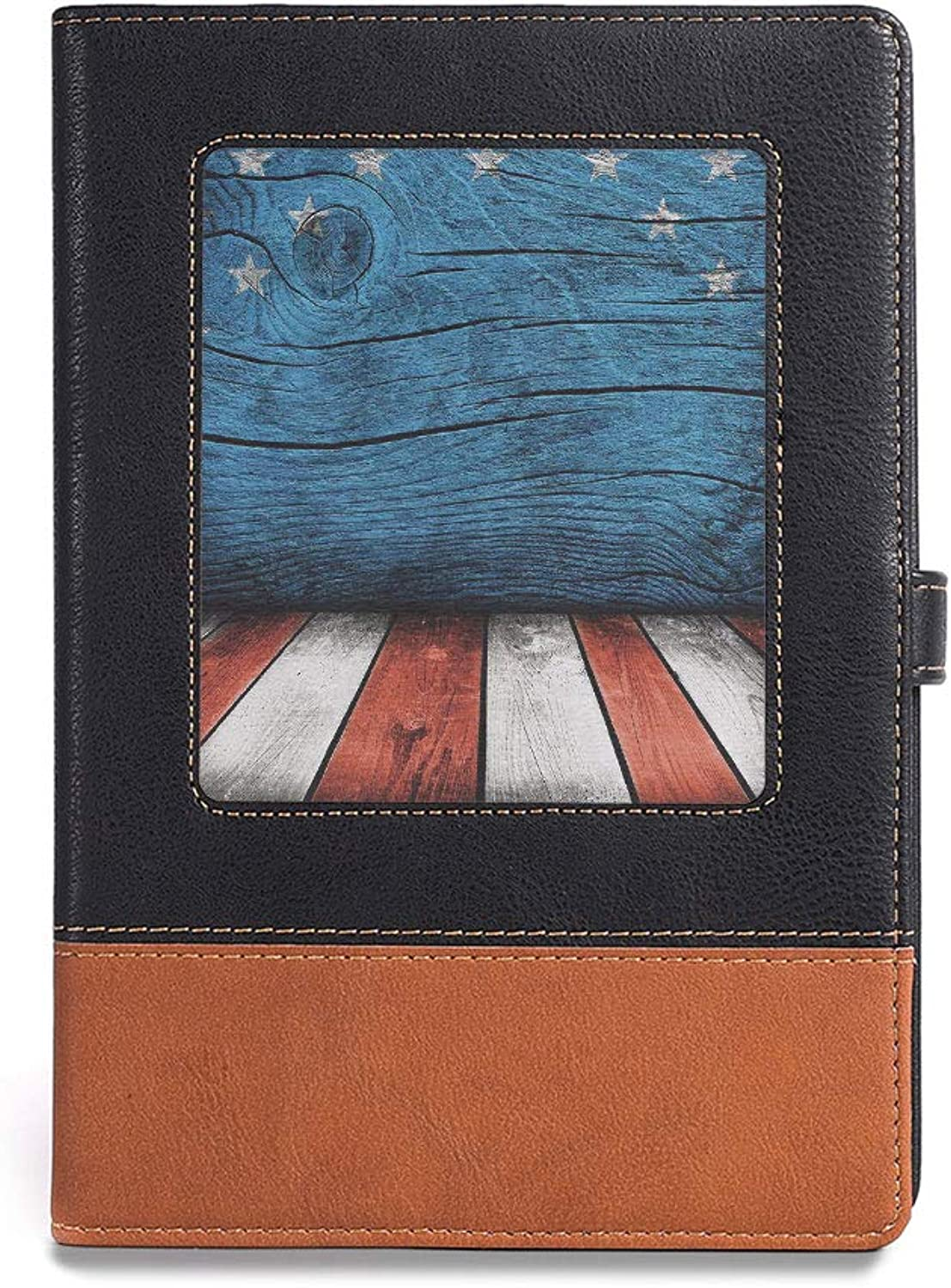 Travel Journal Diary Notebook,Primitive Country,A5(6.1  x 8.6 ),for Travelers,Rustic Empty Wooden Pattern Interior American Flag Design,