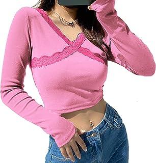 Koitniecer Top da Donna in Pizzo Patchwork Manica Lunga Crop Top Camicia Patchwork Stampata Y2k Canotta Streetwear
