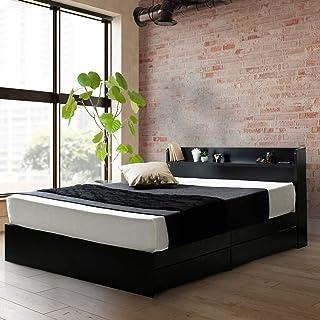 ビックスリー ベッド キャスター付き 引き出し収納 木製ベッド 棚付き 宮付き コンセント付き ブラック シングル ベッドフレームのみ