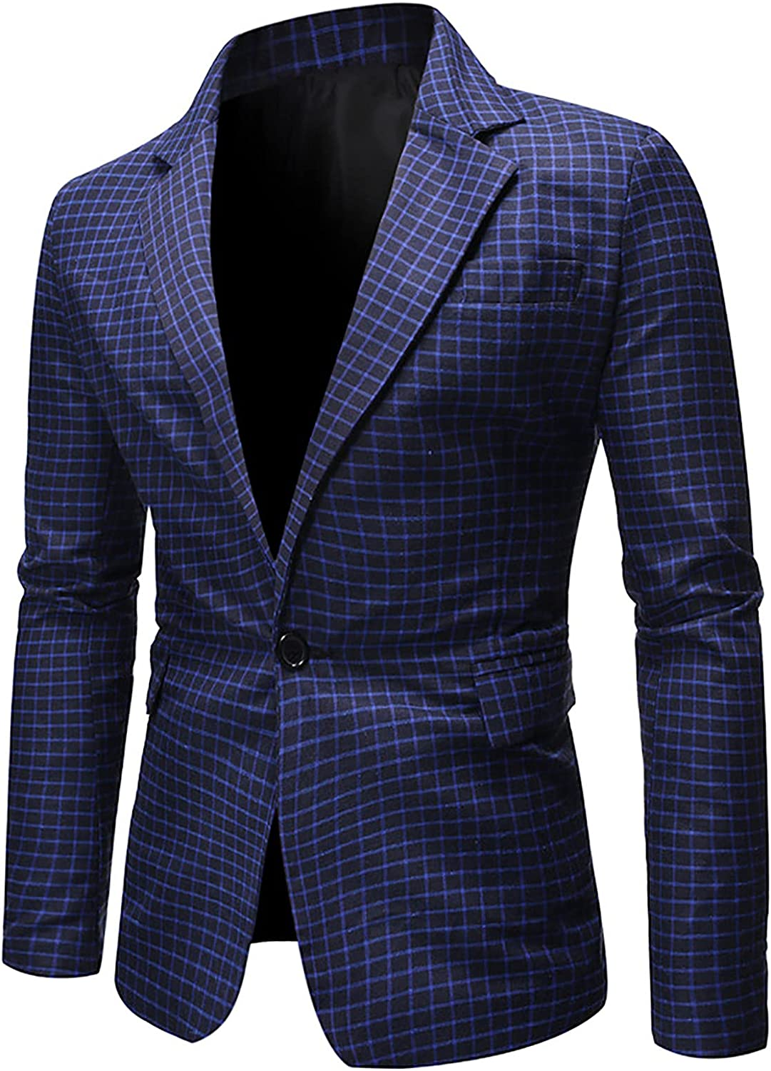 Mens Business Office Blazer One Button Plaid Tuxedo Classic Fit Separate Coat Dinner Jacket, Evening, Wedding, Prom