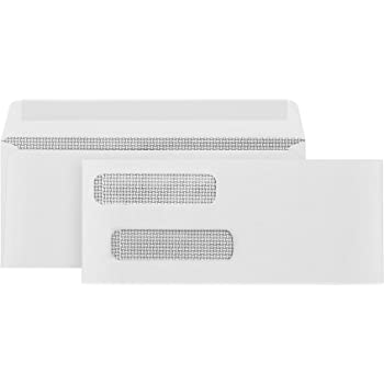 500 Gummed Double Window Security Check Envelopes - Designed for QuickBooks Checks - Computer Printed Checks - Gummed Flap - 3 5/8 X 8 11/16