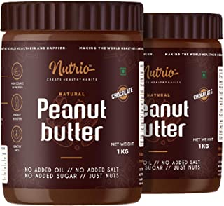 Nutrio Chocolate Peanut Butter 2 kg (Creamy) (Chocolaty Flavor) | Made with Roasted Peanuts, Cocoa Powder & Choco Chips | ...