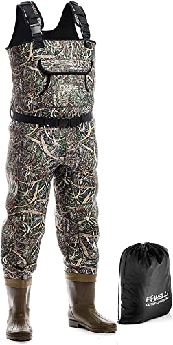 Foxelli Neoprene Chest Waders – Camo Fishing Waders for Men with Boots - Use for Duck Hunting, Fly Fishing, Emergency...