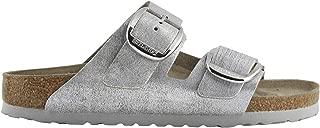 Birkenstock Womens Arizona Big Buckle Washed Metallic Suede Sandals