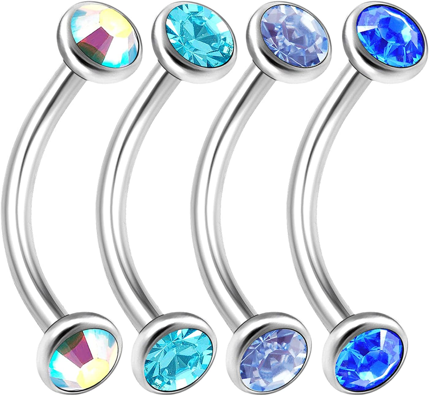 bodyjewellery 4Pcs 16g New products, world's highest quality popular! 10mm Curved Cartila Barbell Ear Ring Lobe Max 53% OFF